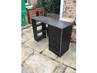 Black desk with 4 drawers and 3 shelves - ideal childs study/computer desk