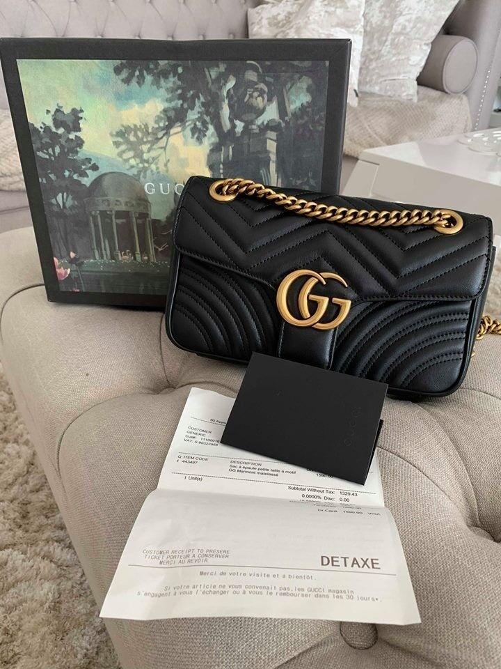 84964dbd731 GG Marmont small Black matelassé shoulder bag NEW receipt and ...
