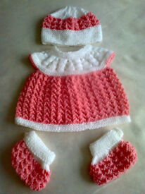 NEW Handknitted Baby Set Newborn Size