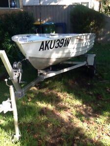 Aluminium 10 foot boat and trailer both registered