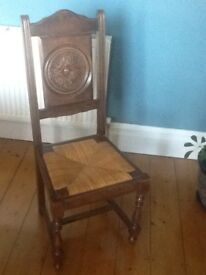 6 period solid dark wood dining chairs with wicker seats