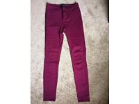 Bordeaux stretchy trousers from Pieces size S