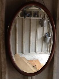 VINTAGE OVAL MIRROR WITH FOXING AND INLAID FRAME LOVELY CONDITION SEE PICTS