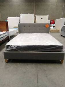 Brand New Grey Fabric Bed with Round corner head Frame Melbourne CBD Melbourne City Preview