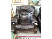 Oxblood leather / oak arm chair Copley Mill LOW COST MOVES 2nd Hand Furniture STALYBRIDGE SK15 3DN