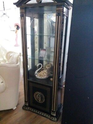 The Versace Design Italian Rossella Black/Gold 1 Door Vetrine/Display Cabinet
