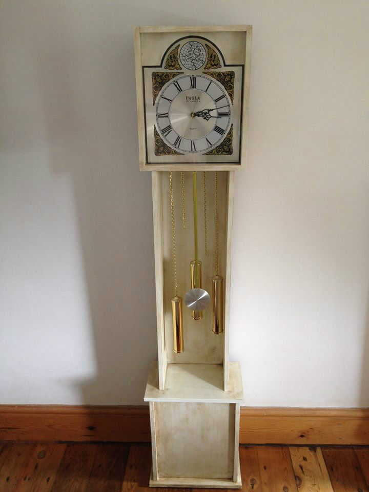 Shabby Chic Grandfather Wall Clock Annie Sloan Old White Chalk Paint