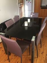 Glass top dining table & 6 chairs Elanora Heights Pittwater Area Preview