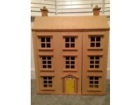 Wooden dolls house & 50 pieces