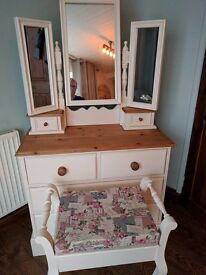 Beautiful solid pine Dressing table & stool painted in cream tops sanded and waxed for protection.