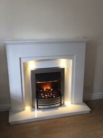 NEW White marble fireplace with led lights