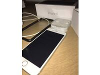 I Phone 6 Unlocked White/Space Grey - 64GB With Box & Charger - Never used Headphones