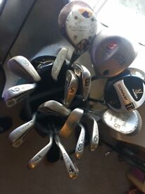 Golf bag, sticks, balls..