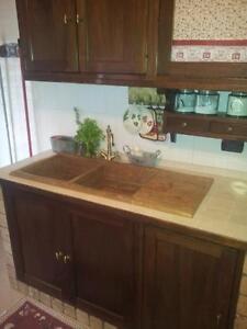 Lavandino Lavello Cucina In Pietra Travertino Noce 2 Vasche Con Gocciolatoio Ebay