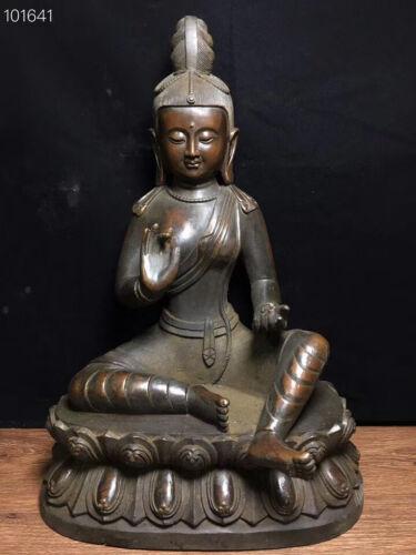 "15"" Old Tibetan Buddhism Temple Bronze Green Tara GuanYin Goddess Buddha Statue"