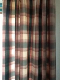 Checked tartan curtains. 120cms wide by 200cms drop approx.