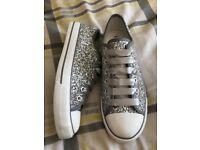Silver glitter wedding converse style pumps