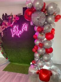 Balloons and backdrop hire