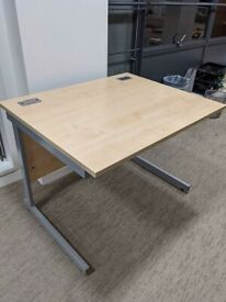 FREE SAME DAY DELIVERY - Cantilever Beech Rectangular Office Desk, 1000mm by 800mm