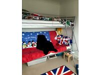 Metal High Sleeper with Double Futon Underneath