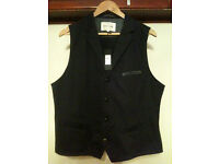 New River Island Mens Smart Formal Work Black Waistcoat - XL