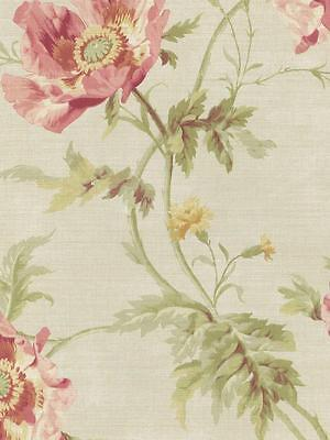 - Wallpaper Designer Cottage Floral Poppy Flowers Pink Green on Light Beige