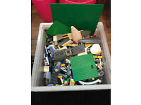 Big box of Lego and mini figures