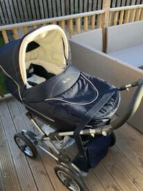 Navy blue silver cross pram and Moses stand