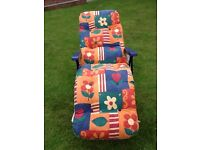 Folding sun lounger, attractive floral print, thick cushioned pad, adjustable positioned chair