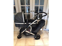 NEW IN BOX HAUCK DUETT TWIN TANDEM DOUBLE PRAM PUSHCHAIR BUGGY CARRYCOT BLACK UNISEX HALFPRICE £199