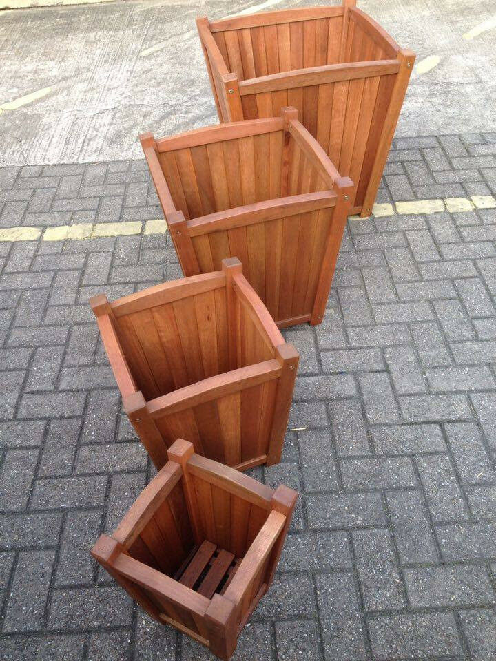 End of season clear out - 4 x trapezium wooden planters