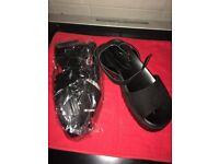 Ladies/Girls Black Chunky Ankle Strap Sandals - Size 6 - Brand New (Boxed)
