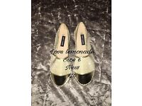 Love Lemonade gold shimmer espadrilles sz 6 new