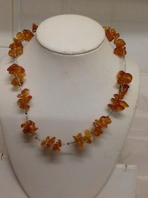 Very Pretty Baltic Amber Necklace, on 925. Silver Wire & Small Silver Beads.19.""