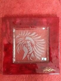 Hand made glass display art plate (Harrods of London)- New