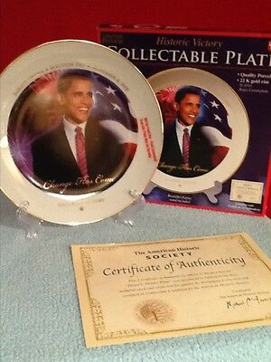 Collectable Barack Obama Election Day Plate By The American Historic Society Nib