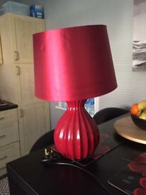 Large red table lamp