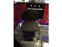 Set of 4 chairs,with black padded seats and backs,chrome frames,bargain only£20 the set,loc delivery