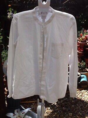 Jacamo White Grandad Collar Long Sleeve Cotton Shirt Size 1xl