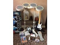 Wii Console, Mario Kart & Rock Band Fender Guitar, Drums & Microphone Bundle