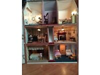 Beautiful Georgian Style Dolls House and Specialist Furniture £80 O.N.O