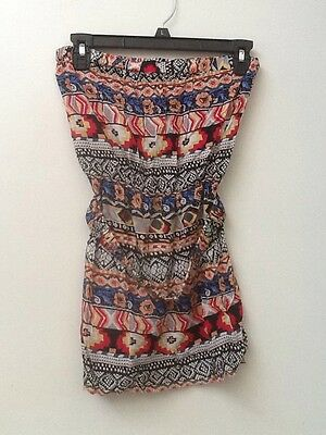 FOREVER 21 TRIBAL GEOMETRIC PRINT STRAPLESS Belted TUNIC BLOUSE TUBE TOP M (Belted Tube Top)