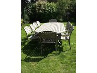 GARDEN TABLE, 10 CHAIRS, MATCHING BENCH AND PARASOL