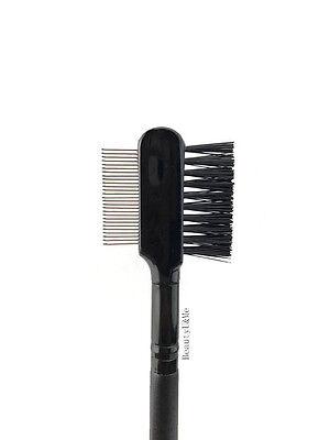 (Deluxe Duo Metal Comb Brush Lash Eyebrow Cosmetic Makeup Eyelash Extension)
