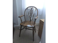Antique Wooden Armchair with Patterned Back