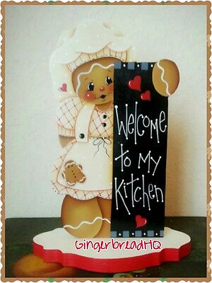 HP Hand Painted Gingerbread,  white Dress, Girl, Shelf Sitter, Gingerbread Decor