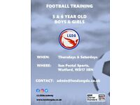 Football training for 5 & 6 year olds