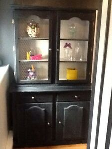 Solid wood blue hutch,
