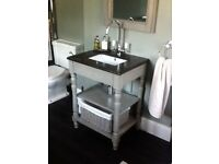 MAISONS DU MONDE Wood and marble basin unit & mirror light grey