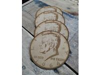 JFK half dolar coin 4 x coasters laser cut on mdf